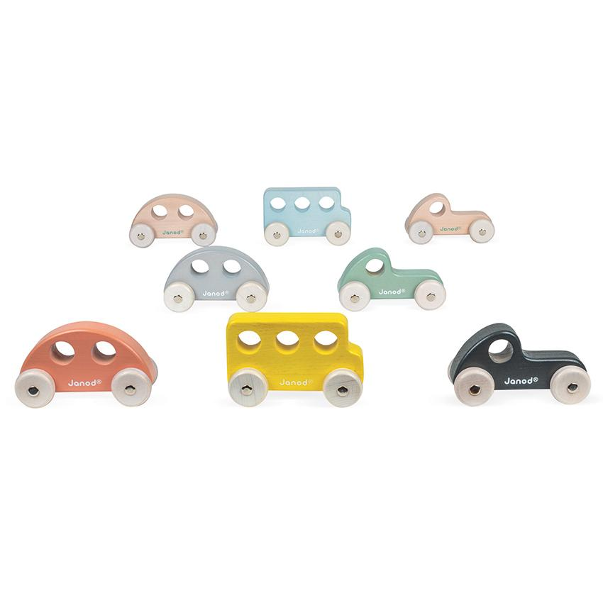 Janod Cocoon Wooden Toy Cars Janod Play Vehicles at Little Earth Nest Eco Shop