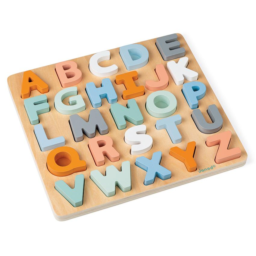 Janod Cocoon Wooden Alphabet Puzzle Janod Puzzles at Little Earth Nest Eco Shop