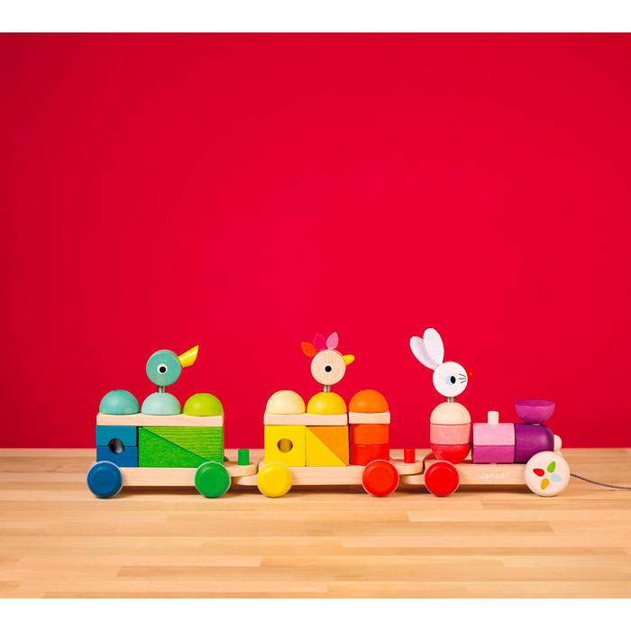 Janod Giant Rainbow Train Pull Along Toy Janod Push and Pull Toys at Little Earth Nest Eco Shop