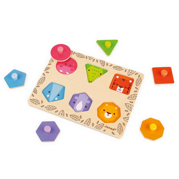 Janod I Am Learning Geo Shapes Puzzle Janod Puzzles Jungle Animals at Little Earth Nest Eco Shop