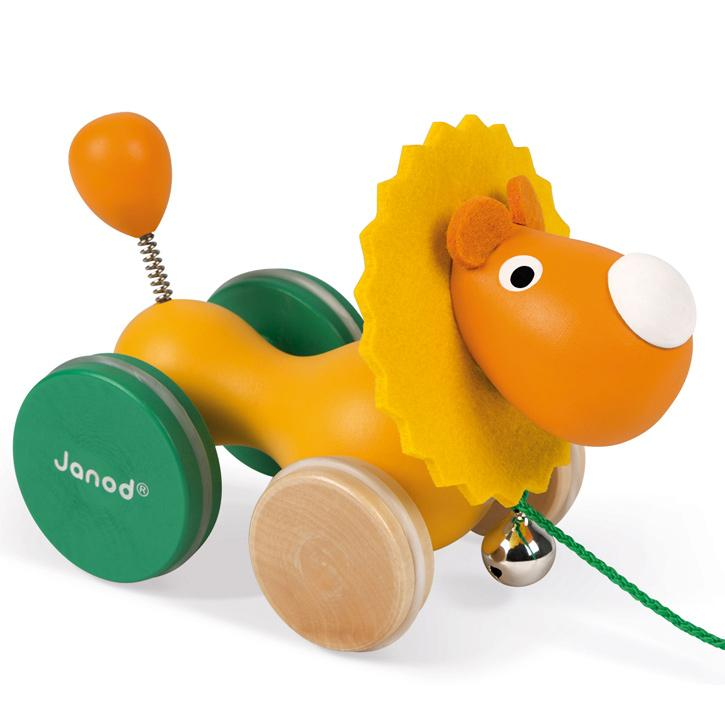 Janod Pull Along Lion Toy Janod Push and Pull Toys at Little Earth Nest Eco Shop
