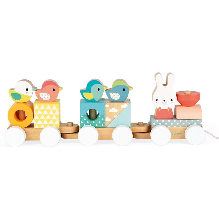 Janod Pure Train Janod Activity Toys at Little Earth Nest Eco Shop