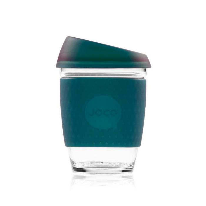 Joco Cup Reusable Glass Cup 12oz Joco Coffee & Tea Cups Deep Teal Seaglass at Little Earth Nest Eco Shop