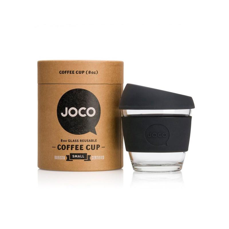 Joco Reusable Glass Cup 8oz Joco Coffee & Tea Cups Black at Little Earth Nest Eco Shop
