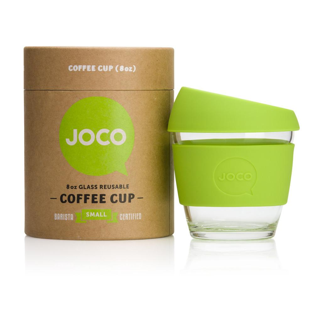 Joco Reusable Glass Cup 8oz Joco Coffee & Tea Cups Lime at Little Earth Nest Eco Shop