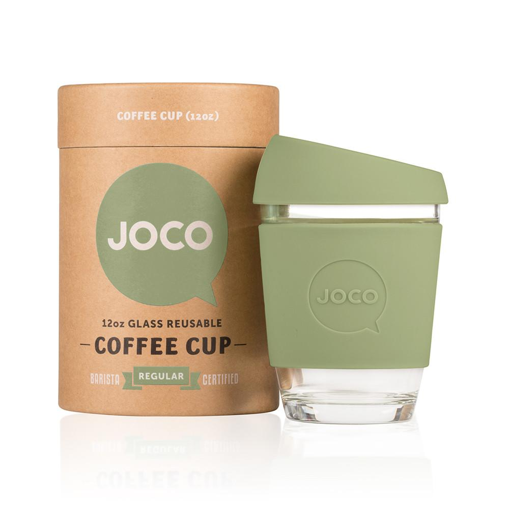 Joco Cup Reusable Glass Cup 12oz Joco Coffee & Tea Cups Army at Little Earth Nest Eco Shop