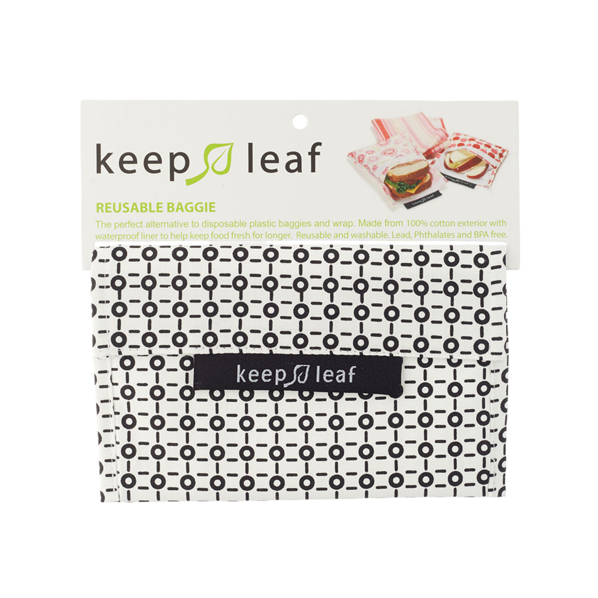 Keep Leaf Reusable Lunch Bags Keep Leaf Lunch Boxes and Bags Medium / Black and White at Little Earth Nest Eco Shop