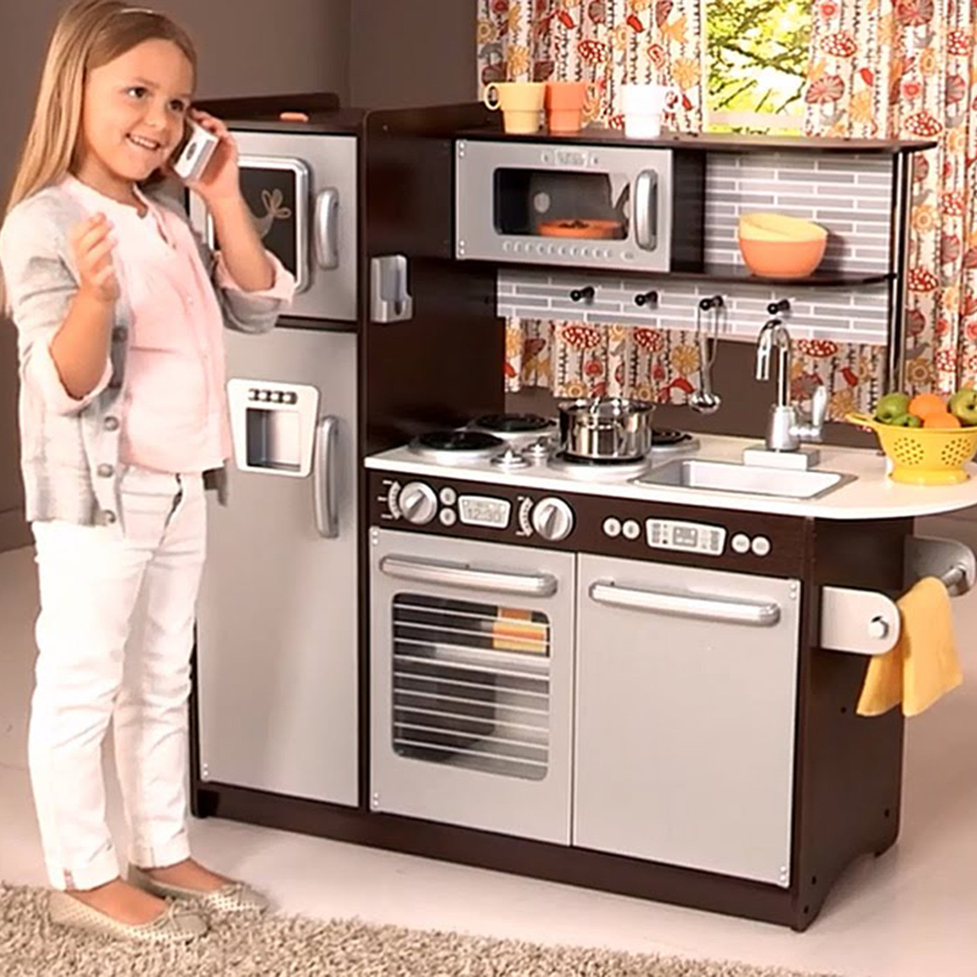 kidkraft uptown espresso kitchen for kids - little earth nest
