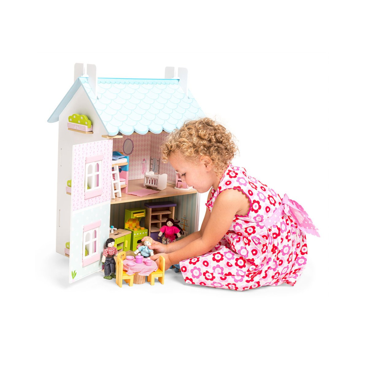 Le Toy Van Blue Bird Cottage Le Petit Bouton Dollshouses at Little Earth Nest Eco Shop