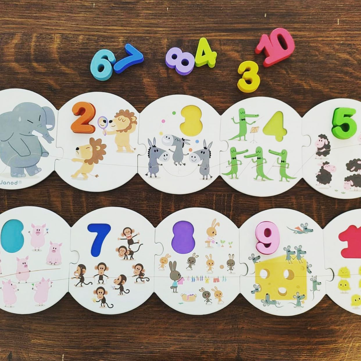 Janod Learn To Count Puzzle Janod Puzzles at Little Earth Nest Eco Shop