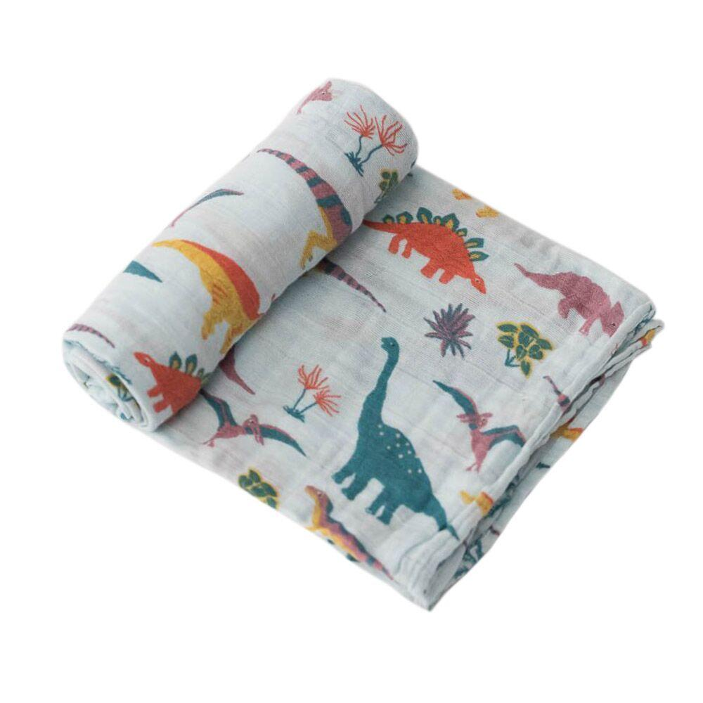 Cotton Muslin Swaddle Little Unicorn Bath and Body Embroidosaurus at Little Earth Nest Eco Shop