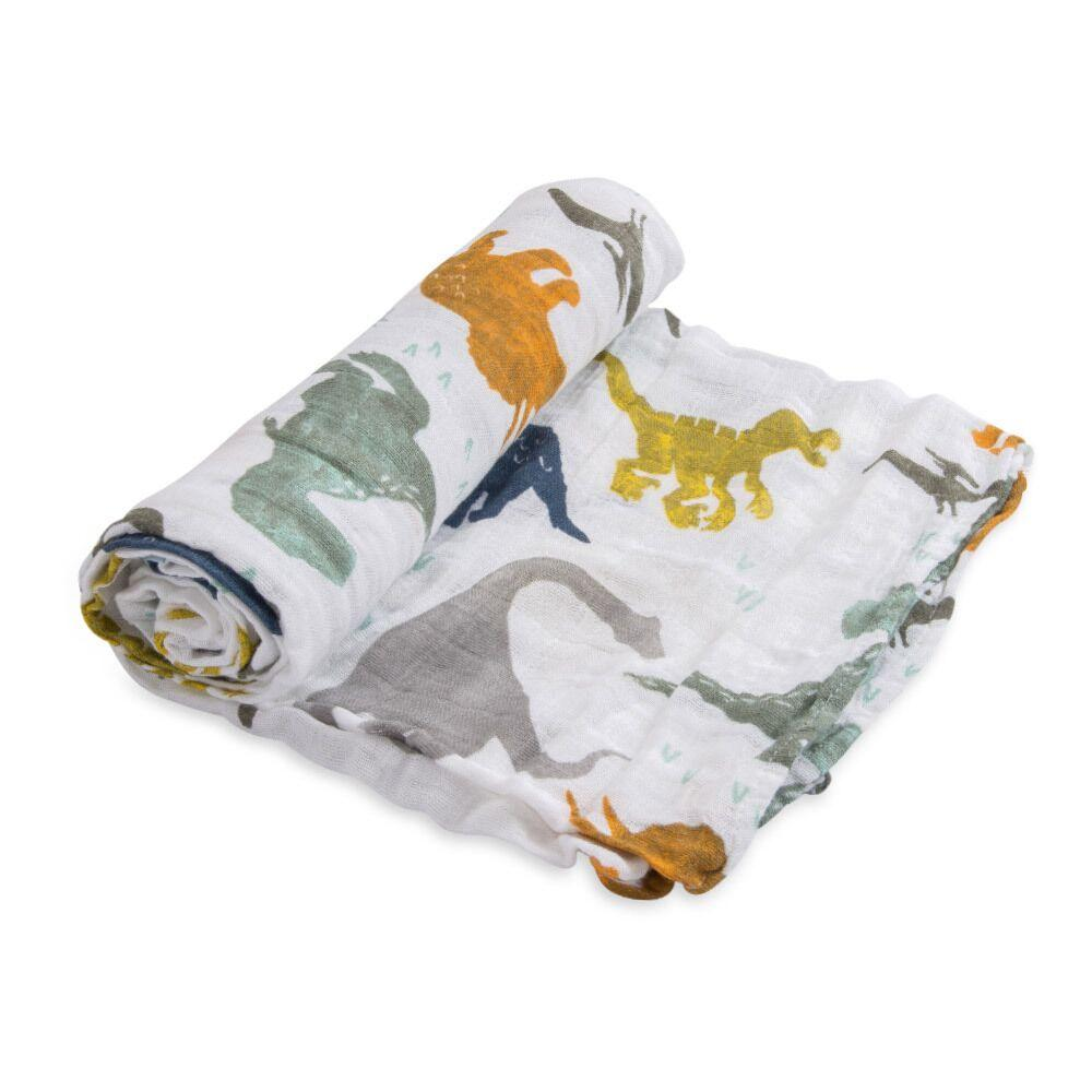 Cotton Muslin Swaddle Little Unicorn Bath and Body Dino Friends at Little Earth Nest Eco Shop