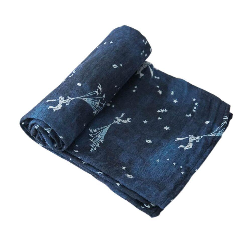 Cotton Muslin Swaddle Little Unicorn Bath and Body Flock of Stars at Little Earth Nest Eco Shop