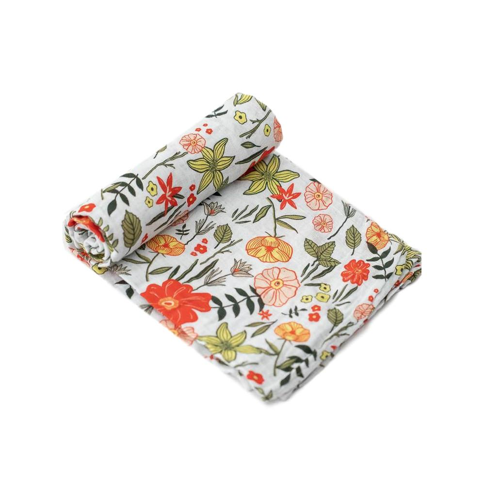 Cotton Muslin Swaddle Little Unicorn Bath and Body Primrose Patch at Little Earth Nest Eco Shop