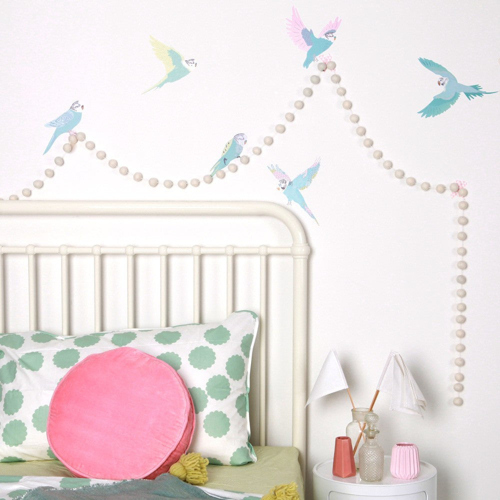 Love Mae Small Fabric Wall Decals  Budgies - Love Mae - Little Earth Nest - 1