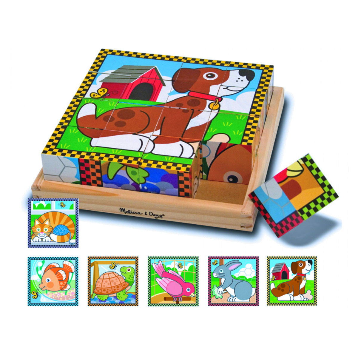 Melissa and Doug Cube Puzzle - 16 Piece Melissa and Doug Wooden Blocks Pets at Little Earth Nest Eco Shop