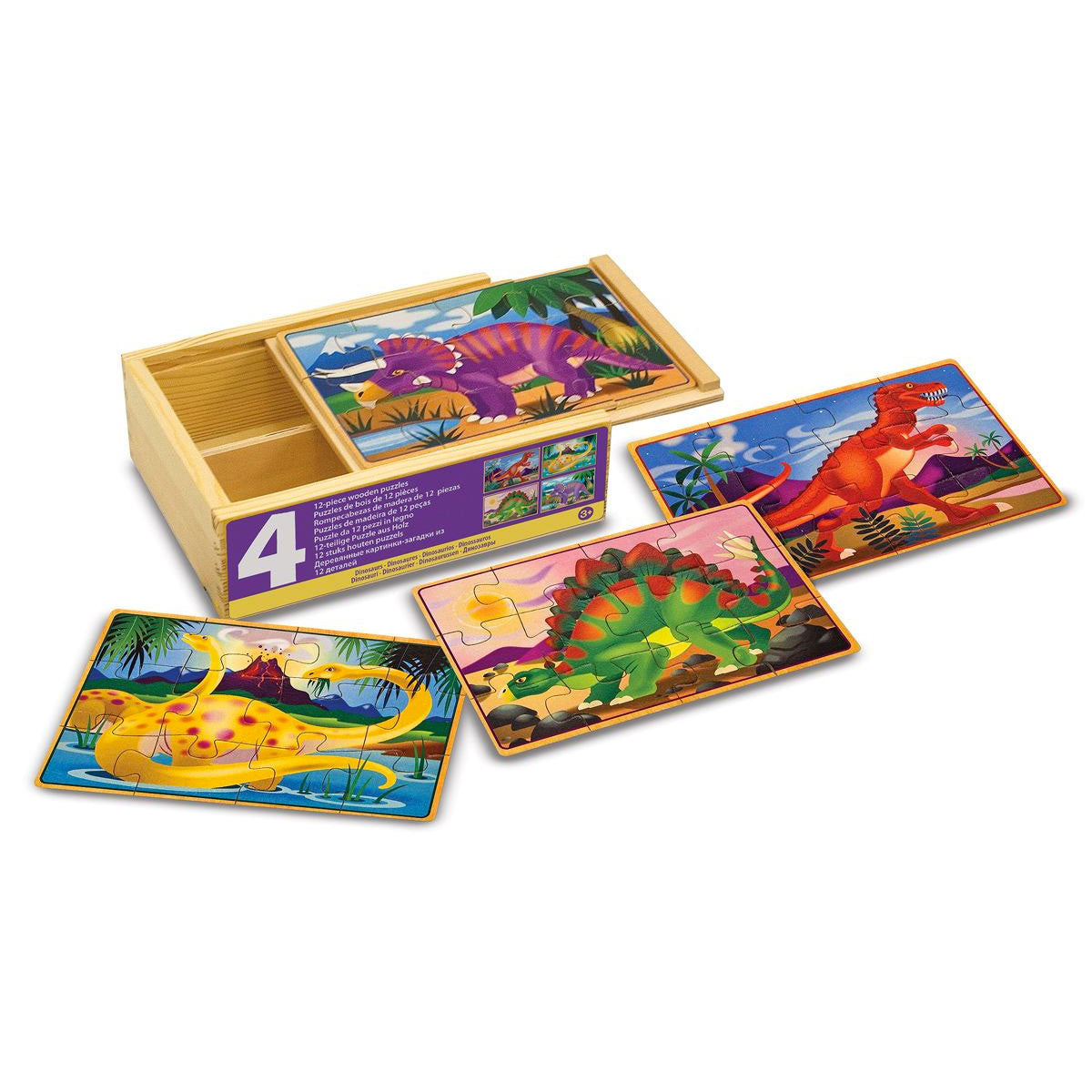Jigsaw Puzzles in a Box - Set of 4 Melissa and Doug Puzzles Dinosaurs at Little Earth Nest Eco Shop