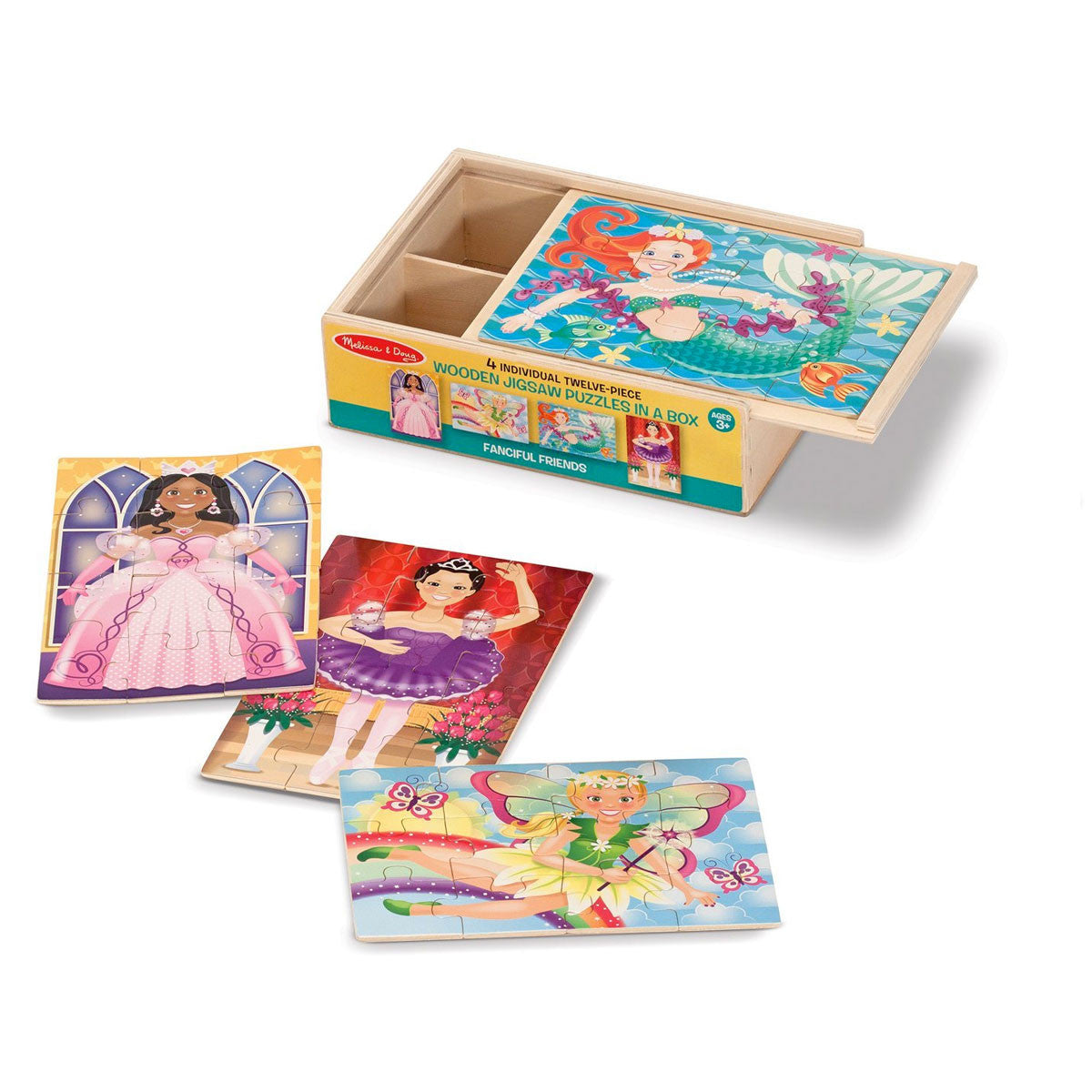 Jigsaw Puzzles in a Box - Set of 4 Melissa and Doug Puzzles Fanciful Friends at Little Earth Nest Eco Shop