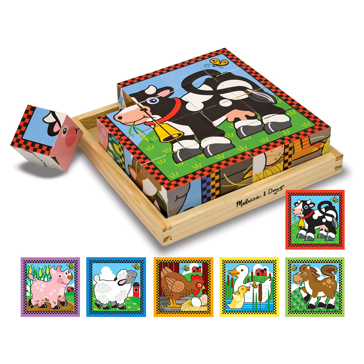 Melissa and Doug Cube Puzzle - 16 Piece Melissa and Doug Wooden Blocks Farm at Little Earth Nest Eco Shop