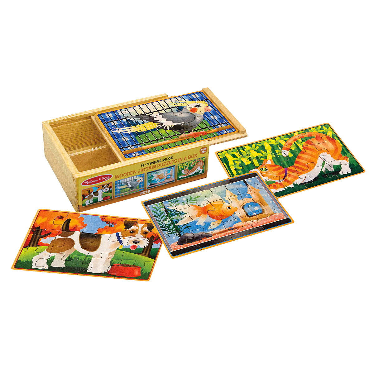 Jigsaw Puzzles in a Box - Set of 4 Melissa and Doug Puzzles Pets at Little Earth Nest Eco Shop
