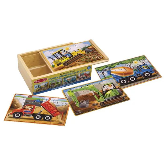 Jigsaw Puzzles in a Box - Set of 4 Melissa and Doug Puzzles Construction at Little Earth Nest Eco Shop