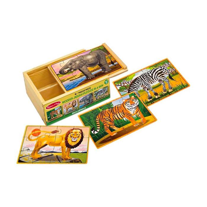 Jigsaw Puzzles in a Box - Set of 4 Melissa and Doug Puzzles Wild Animals at Little Earth Nest Eco Shop