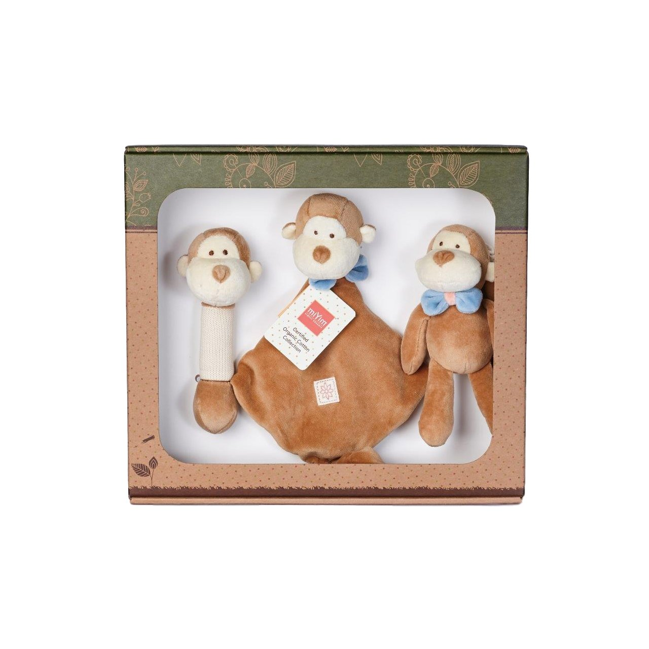 Miyim Organic Soft Toy Gift Set Miyim Toys Monkey at Little Earth Nest Eco Shop