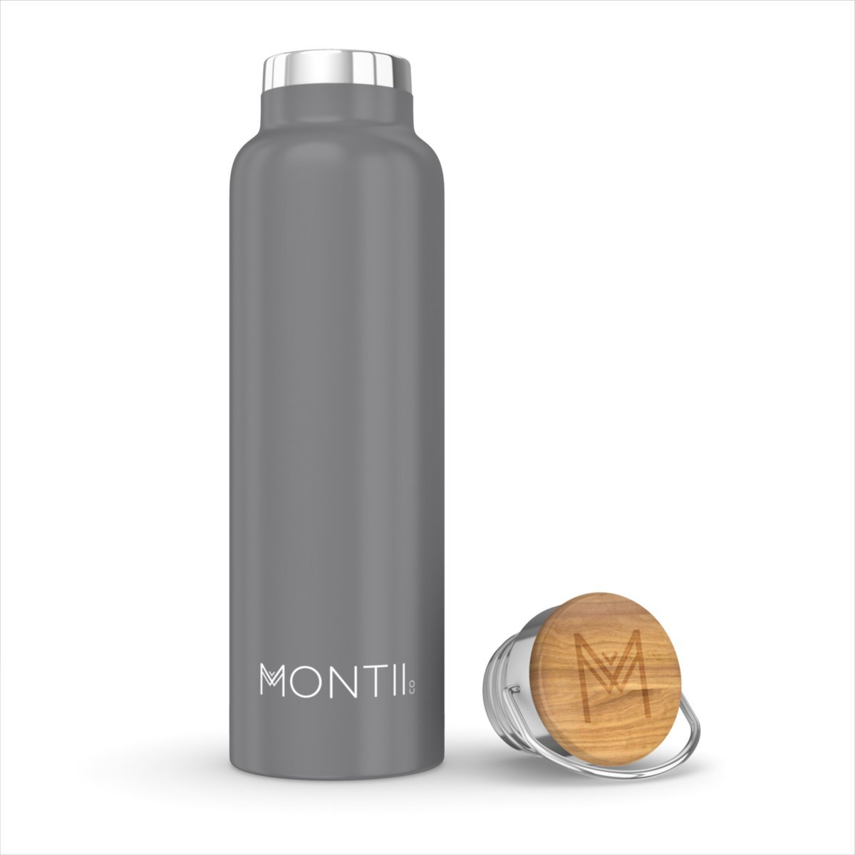 Montii Co Insulated Bottle 600ml Montii Water Bottles Grey at Little Earth Nest Eco Shop