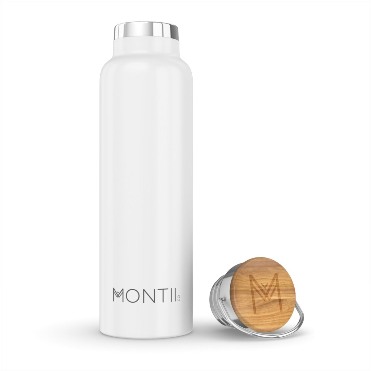 Montii Co Insulated Bottle 600ml Montii Water Bottles White at Little Earth Nest Eco Shop