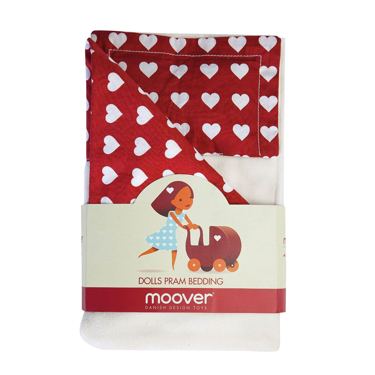Moover Pram Dolls Bedding Moover Toys Pretend Play Red and White at Little Earth Nest Eco Shop