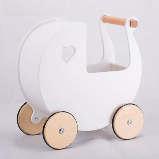 Moover Dolls Pram Moover Toys Pretend Play White at Little Earth Nest Eco Shop