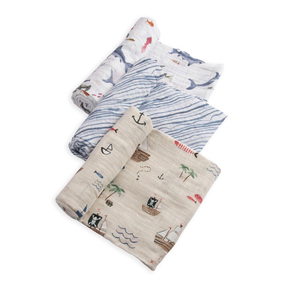 Cotton Muslin Swaddles - 3 Pack Little Unicorn Bath and Body Shark at Little Earth Nest Eco Shop