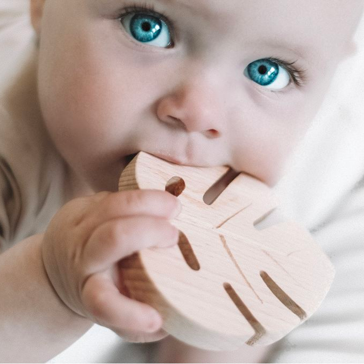 Wooden Monstera Leaf Teether by My Little Giggles Little Giggles Dummies and Teethers at Little Earth Nest Eco Shop