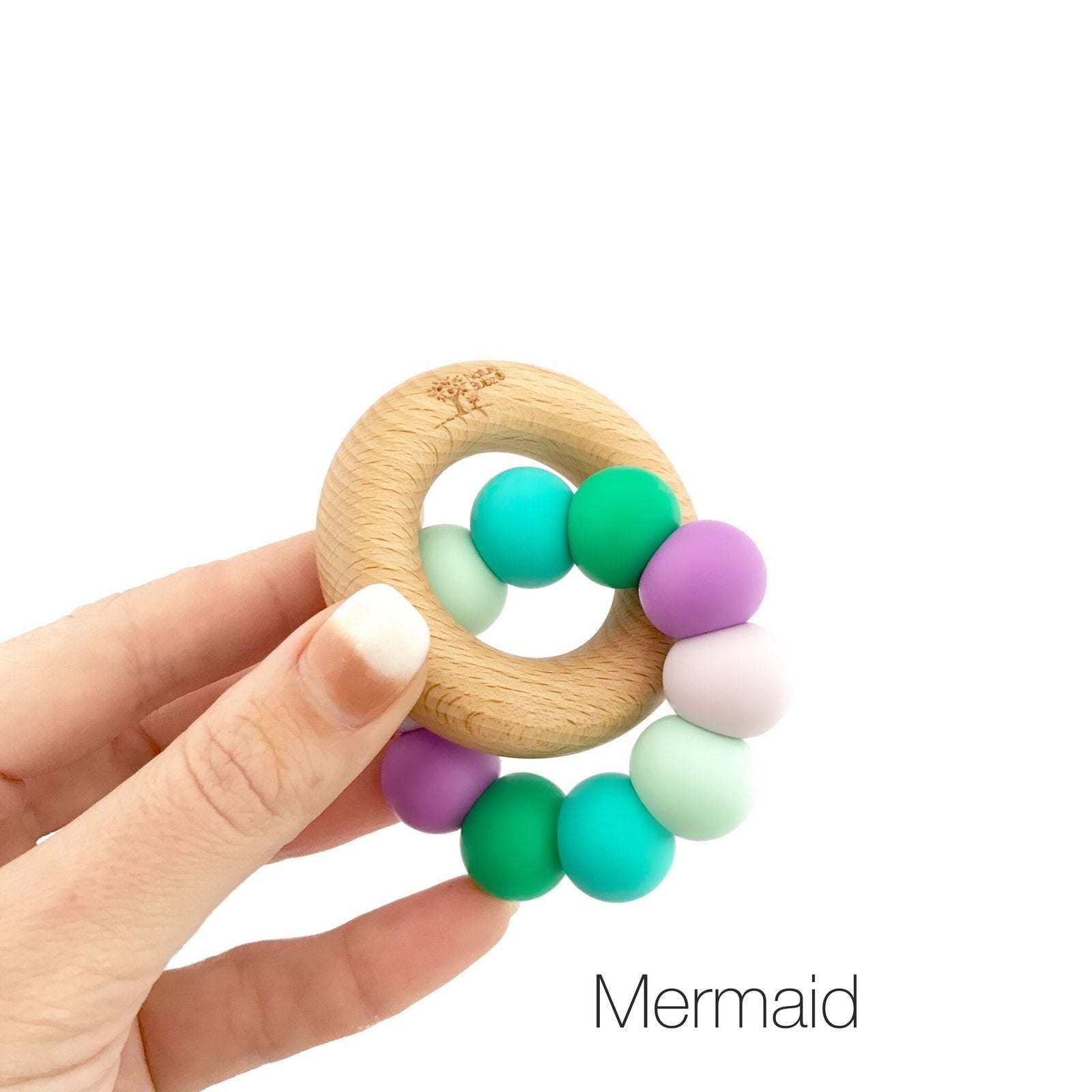 Nature Bubz Rainbow Wood and Silicone Teething Ring Nature Bubz Dummies and Teethers Mermaid Rainbow at Little Earth Nest Eco Shop