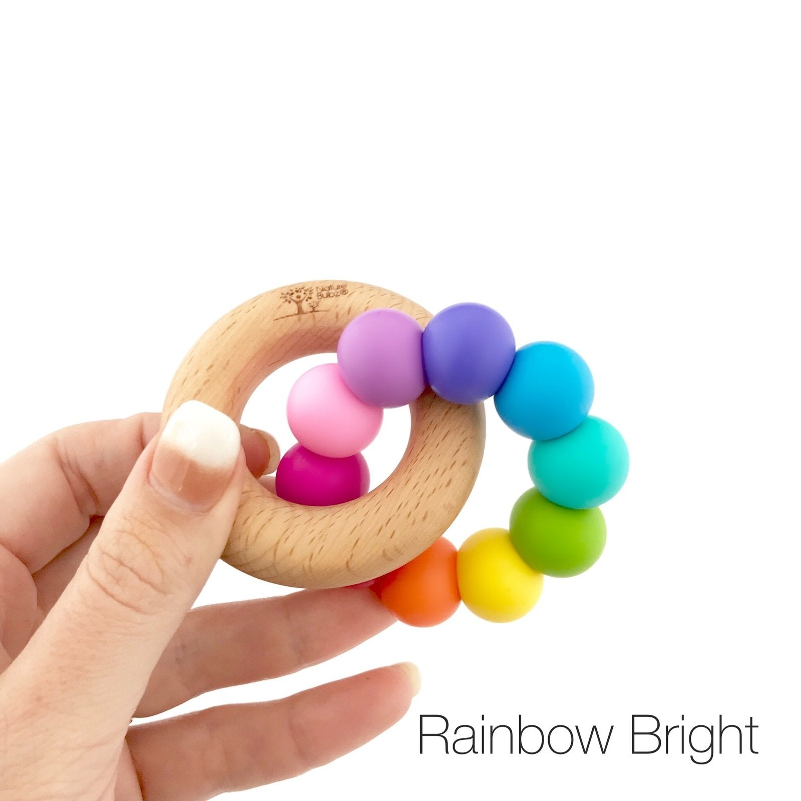 Nature Bubz Rainbow Wood and Silicone Teething Ring Nature Bubz Dummies and Teethers Rainbow Bright at Little Earth Nest Eco Shop