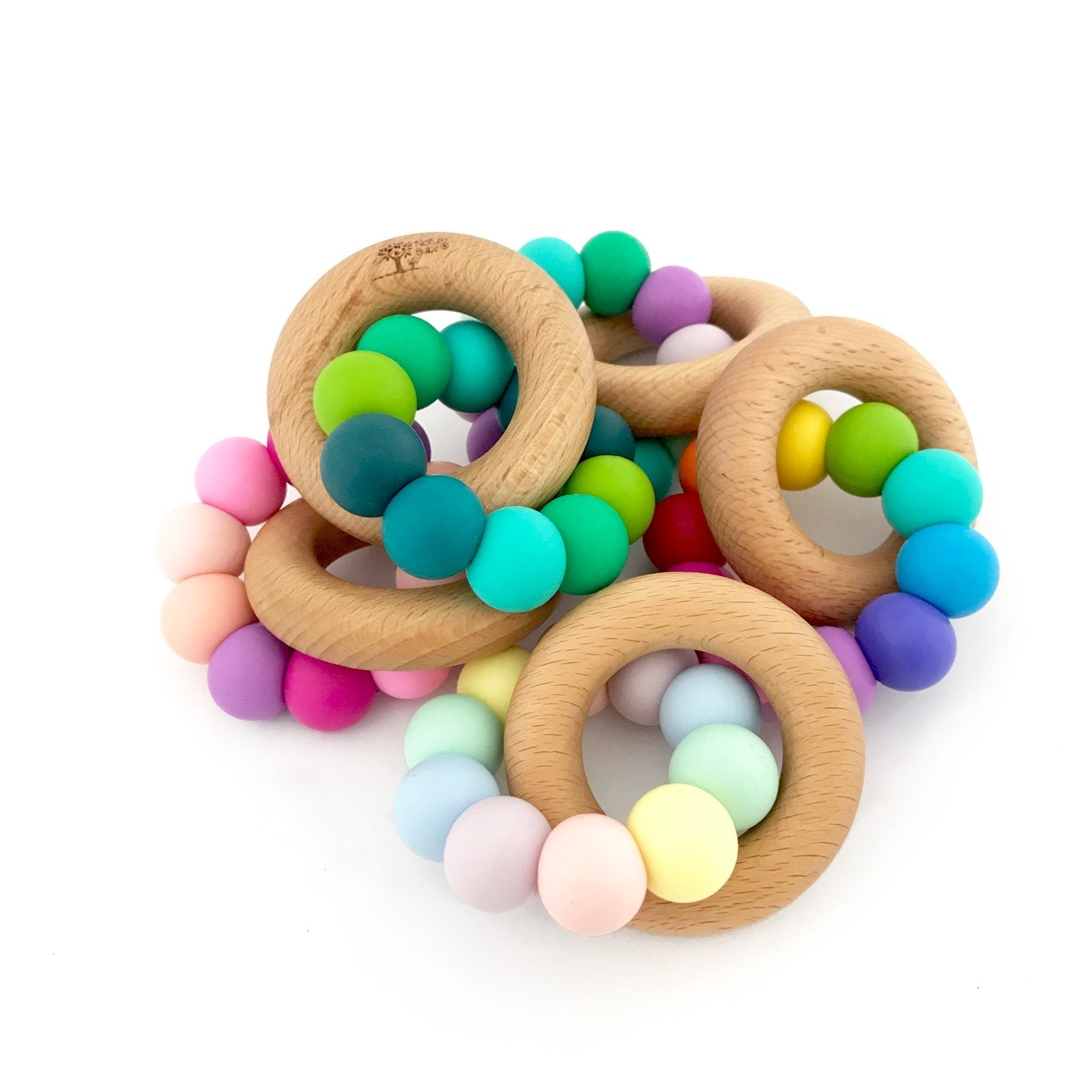 Nature Bubz Rainbow Wood and Silicone Teething Ring Nature Bubz Dummies and Teethers at Little Earth Nest Eco Shop