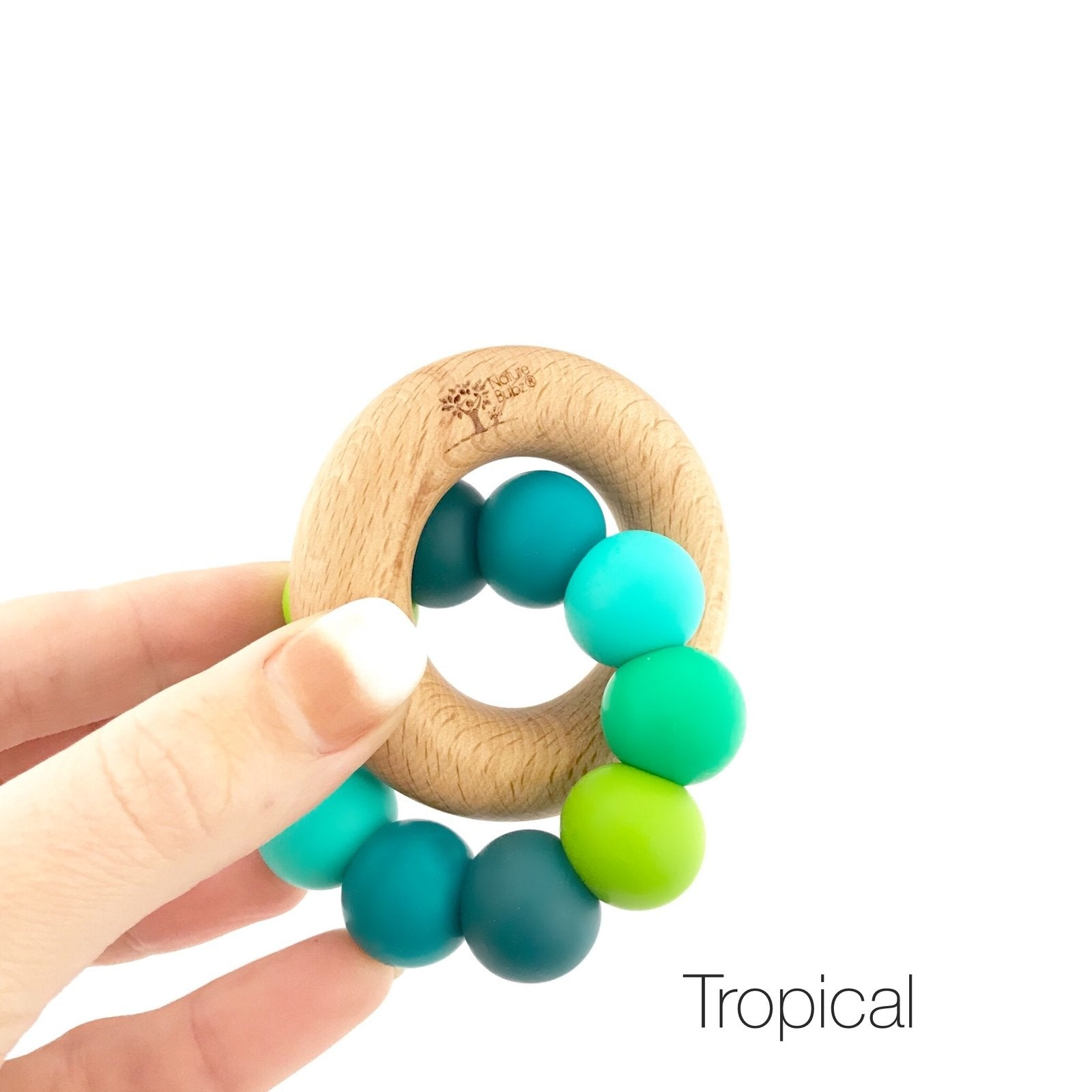 Nature Bubz Rainbow Wood and Silicone Teething Ring Nature Bubz Dummies and Teethers Tropical Rainbow at Little Earth Nest Eco Shop