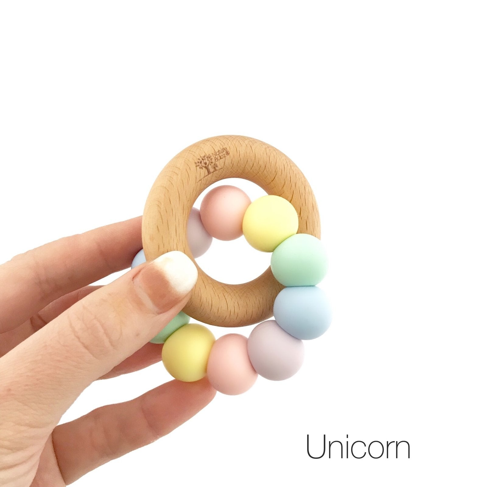Nature Bubz Rainbow Wood and Silicone Teething Ring Nature Bubz Dummies and Teethers Unicorn Rainbow at Little Earth Nest Eco Shop