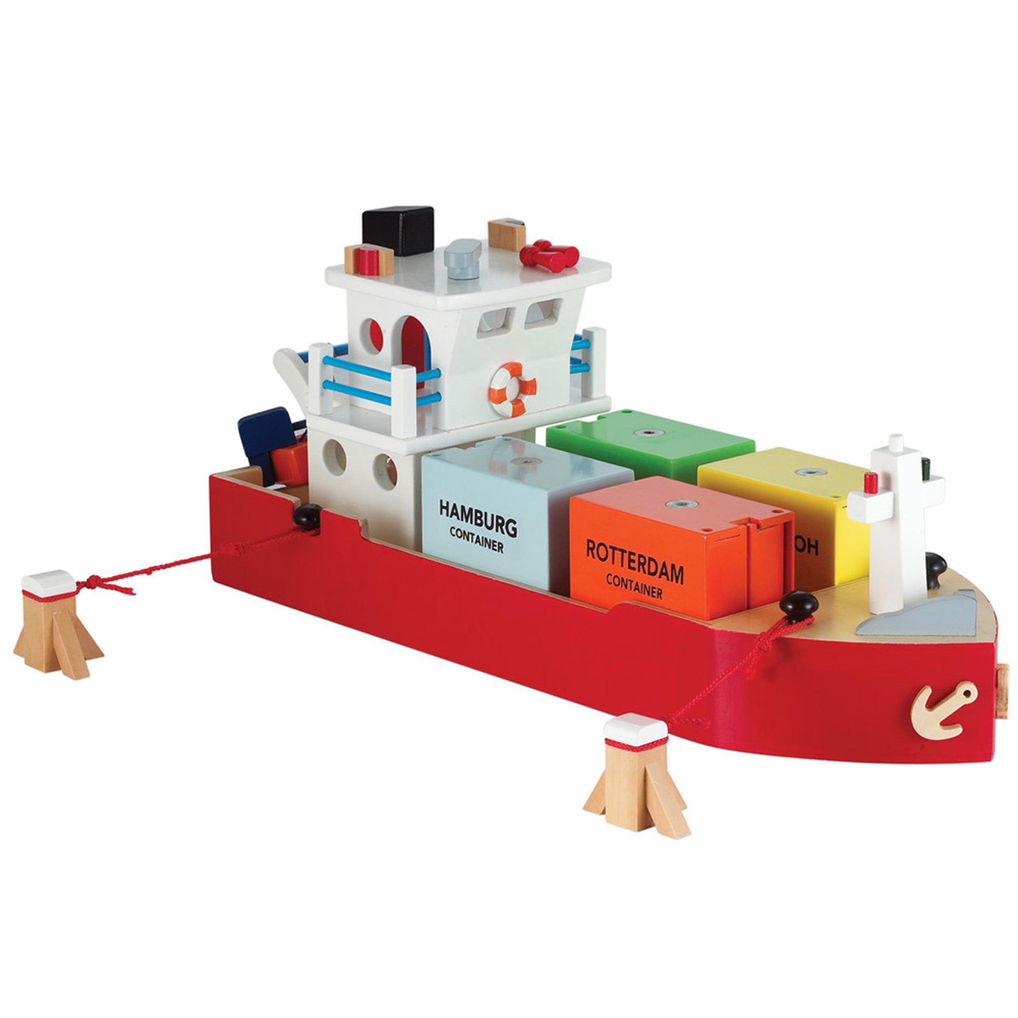 New Classic Toys Wooden Container Ship New Classic Toys Toy Boats at Little Earth Nest Eco Shop