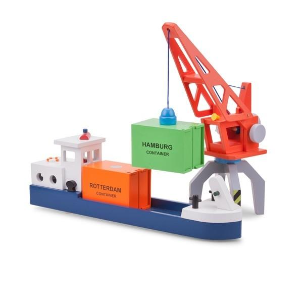 New Classic Toys Barge with 2 Containers New Classic Toys Wooden Toys at Little Earth Nest Eco Shop