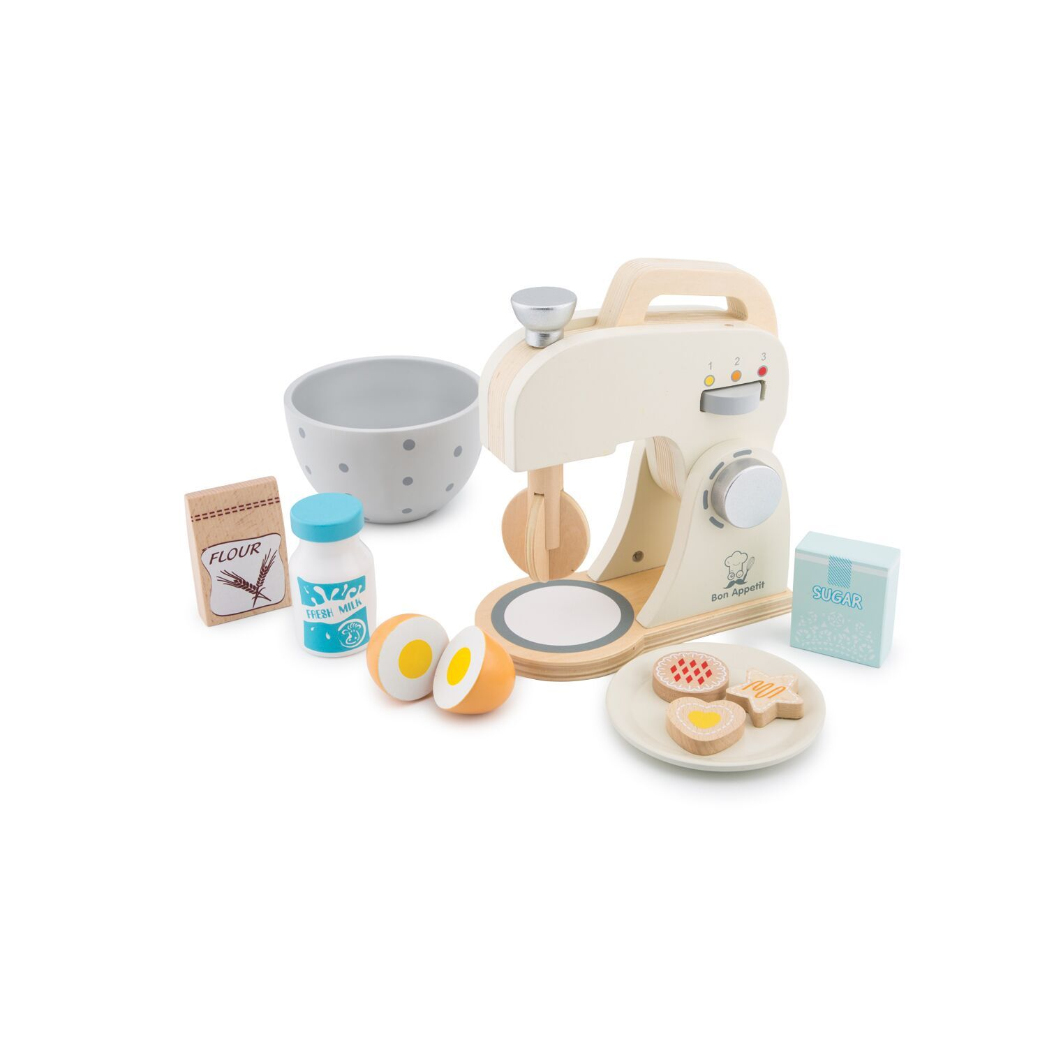 New Classic Toys Mixer Set New Classic Toys Pretend Play White at Little Earth Nest Eco Shop