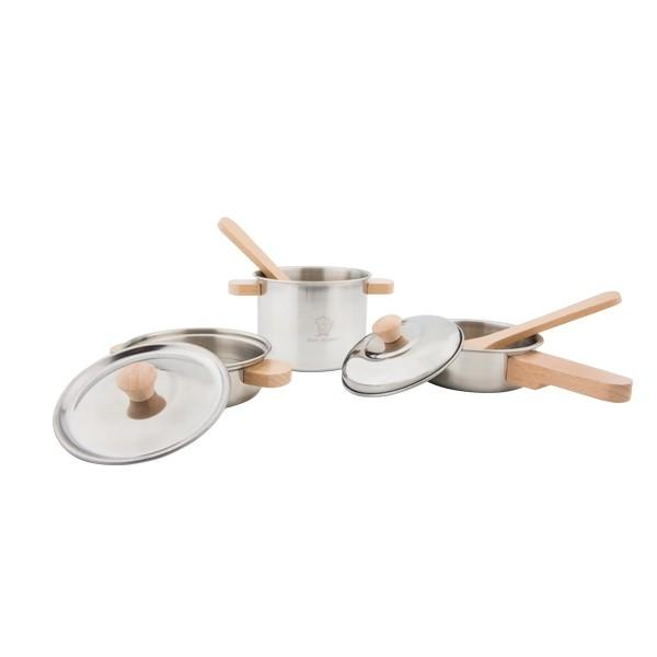 New Classic Toys Metal Pan Set New Classic Toys Pretend Play at Little Earth Nest Eco Shop