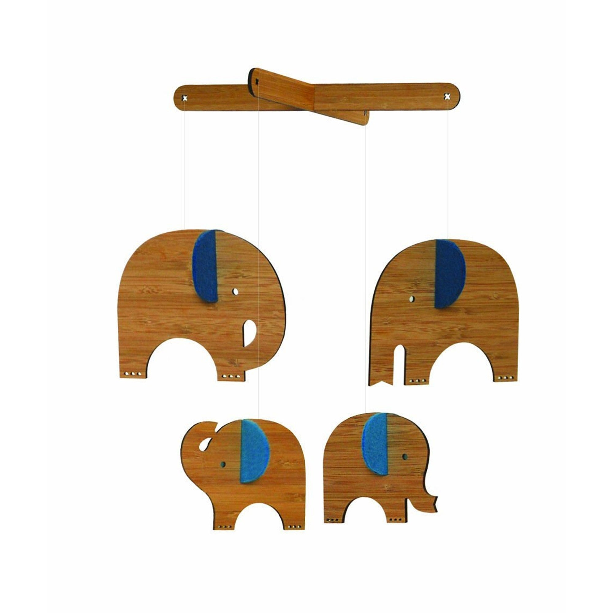 Petit Collage Bamboo Mobile - Elephant with Blue Petit Collage Baby Mobiles at Little Earth Nest Eco Shop