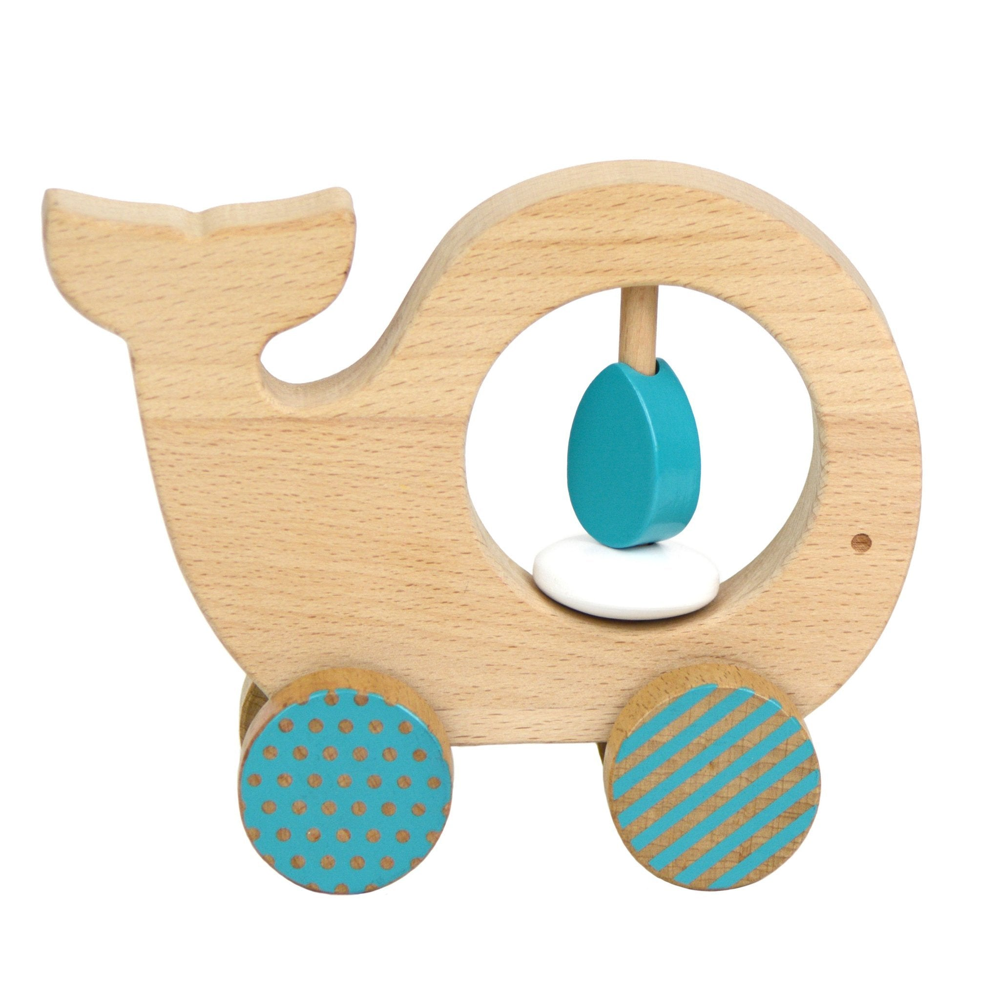 Petit Collage Wooden Push Toy Whale Petit Collage Push and Pull Toys at Little Earth Nest Eco Shop