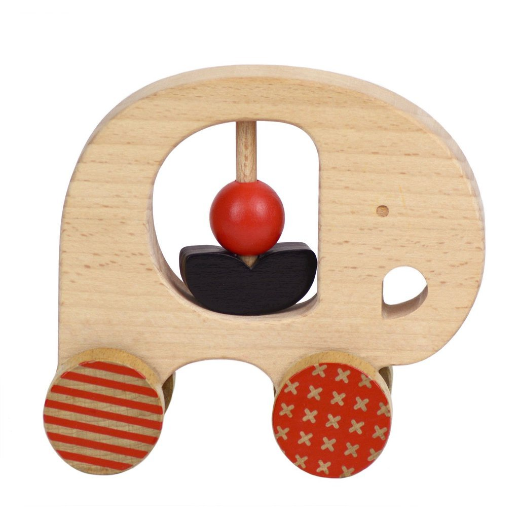Petit Collage Wooden Push Toy Elephant