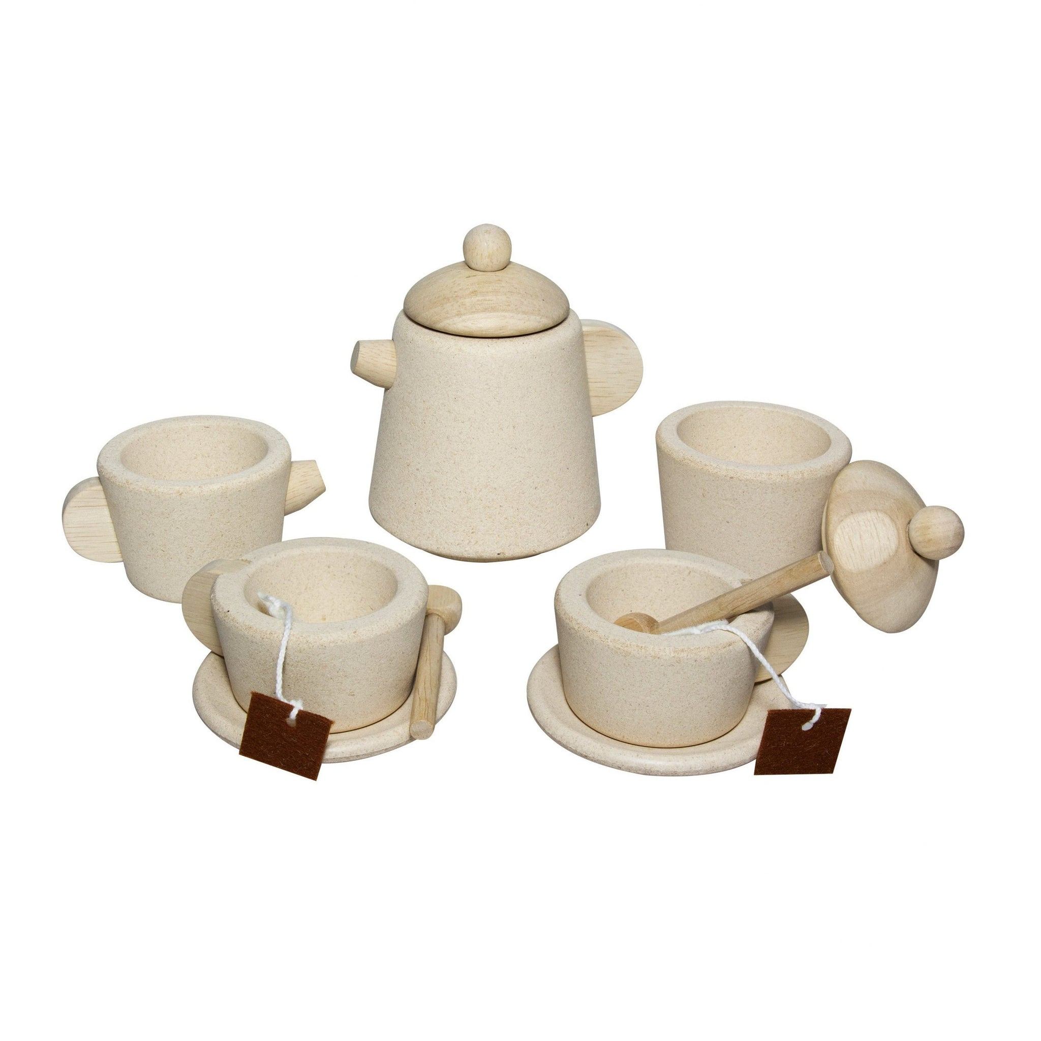 Plan Toys Natural Tea Set PlanToys Toy Kitchens & Play Food at Little Earth Nest Eco Shop