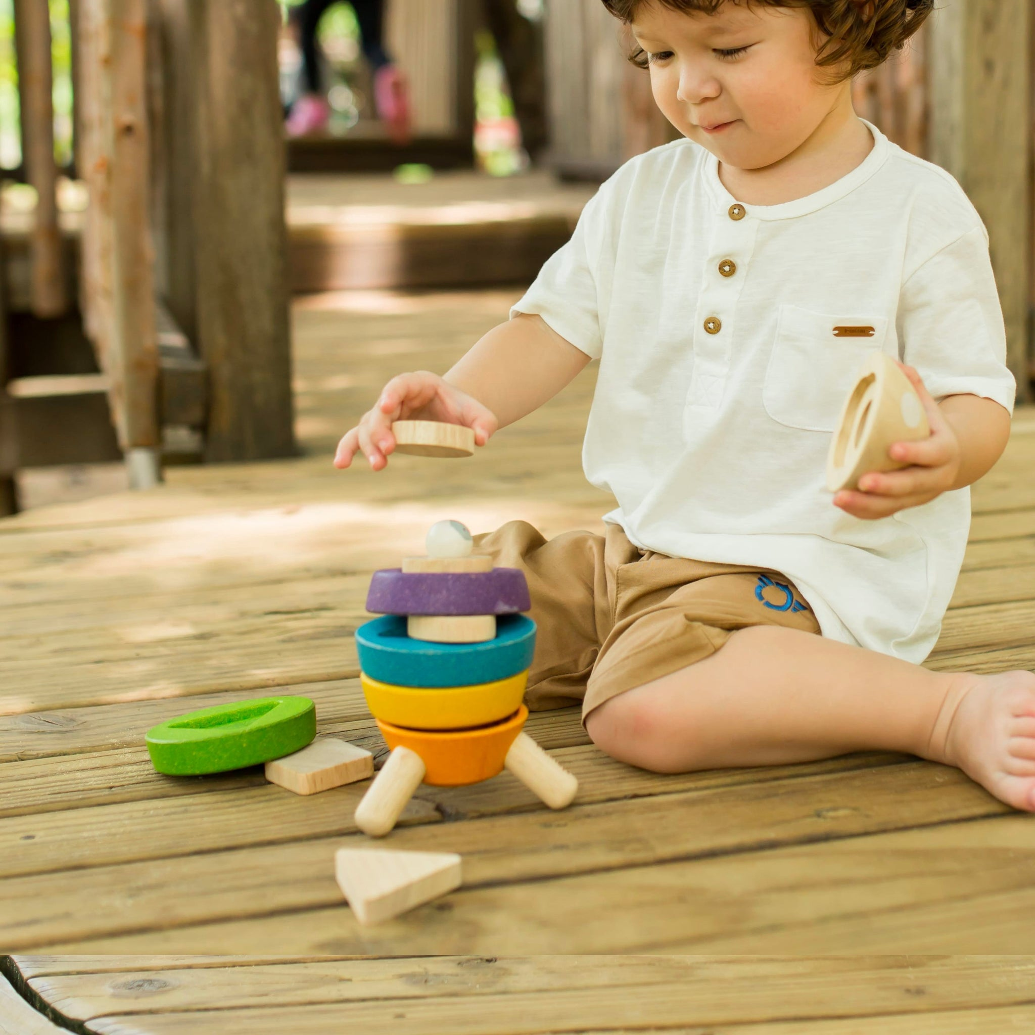 Plan Toys Stacking Rocket PlanToys Sorting and Stacking Toys at Little Earth Nest Eco Shop