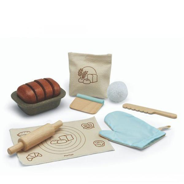 Plan Toys Wooden Bread Loaf Set PlanToys Pretend Play at Little Earth Nest Eco Shop