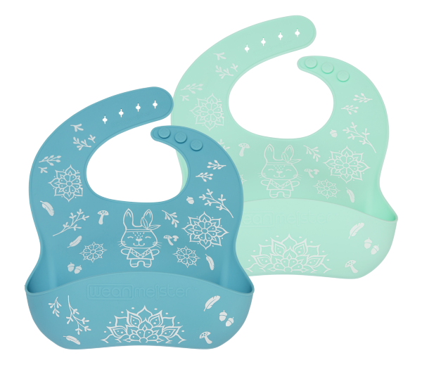 Wean Meister Easy Rinse Bibs Wean Meister Baby Feeding Printed Mint + Teal Bunny at Little Earth Nest Eco Shop