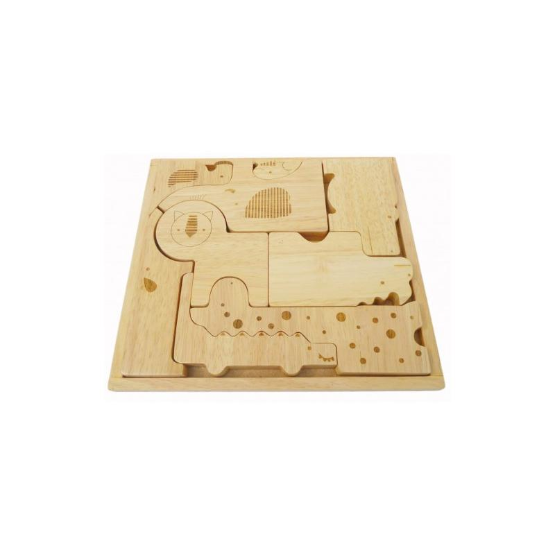 Qtoys Safari Puzzle Play Set QToys Wooden Blocks at Little Earth Nest Eco Shop